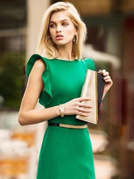 Women Bodycon Dress Green Work Dress Ruffle Short Sleeve Pencil Dress