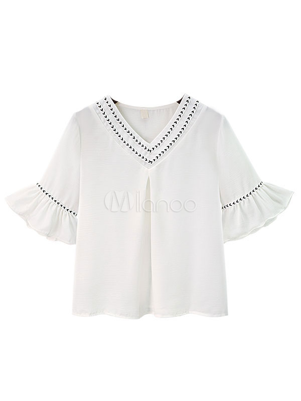 Buy Women's White Blouse V Neck Half Bell Sleeve Two Tone Ruffles Cotton Linen Top for $18.99 in Milanoo store