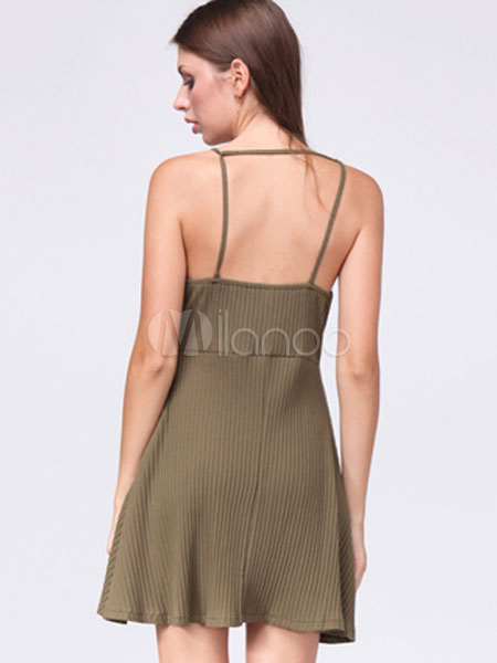 445f4f4425ea ... Women's Skater Dress Hunter Green U Neck Backless Sleeveless Pleated  Slip Dress-No.3