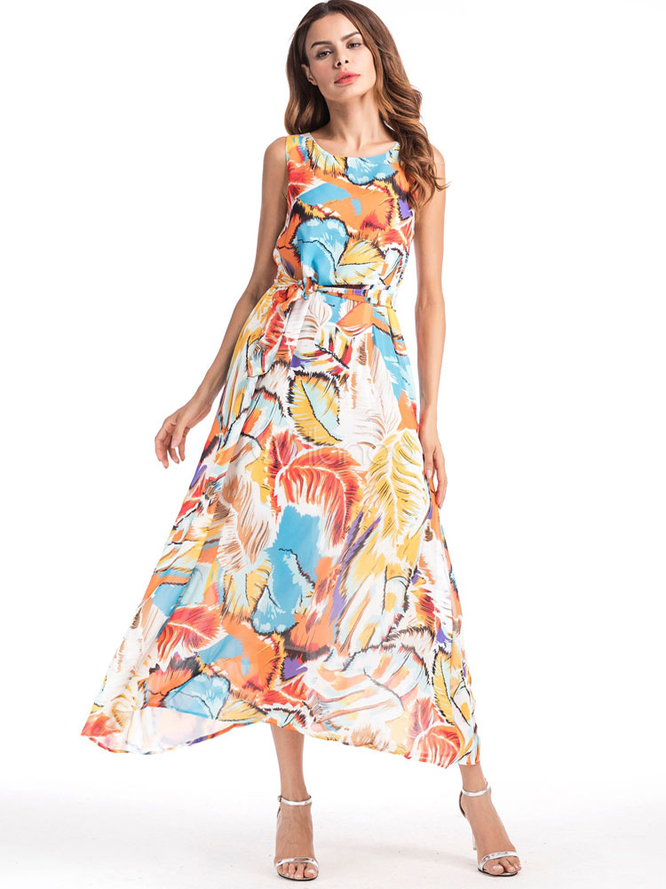 Buy Yellow Maxi Dress Chiffon Round Neck Sleeveless Printed Long Dress For Women for $33.24 in Milanoo store