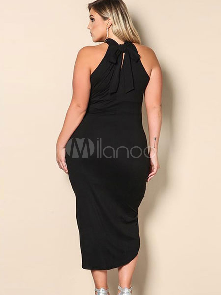 Plus Size Dress Black Halter High Low Ruched Womens Summer Dresses