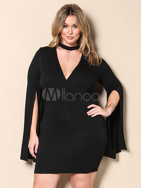 Buy Black Bodycon Dress Plus Size V Neck Designed Sleeve Slit Surplice Women's Mini Sheath Dress for $20.99 in Milanoo store