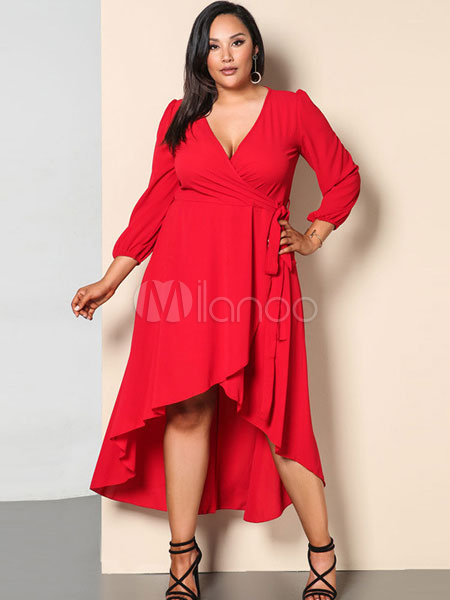 Plus Size Dress Red Long Sleeve V Neck Women\'s High Low Ruffles Summer  Dresses