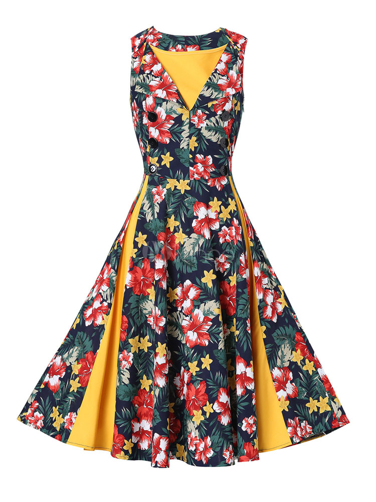 Women's Vintage Dresses Yellow Floral Print Sleeveless V Neck Retro Dress Cheap clothes, free shipping worldwide