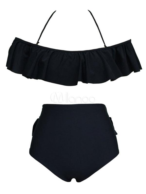 bdbe77162da ... Sexy Bathing Suit High Waist Ruffles Off The Shoulder Women Two Piece  Beach Swimsuit-No ...