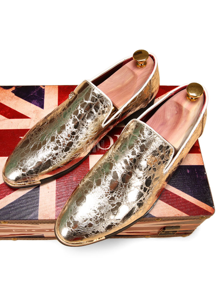 Gold Dress Shoes 2018 Metallic Pointed Toe Slip On Loafers For Men