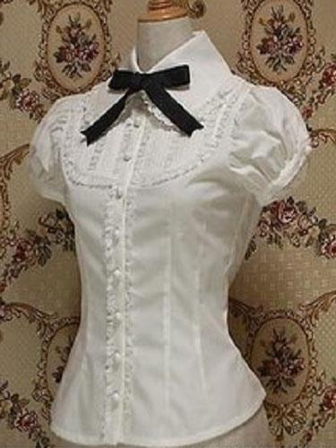 Classic Lolita Blouse Cotton Bowknot Ruffles White Lolita Top