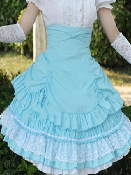 Buy Rococo Lolita Skirt SK Cotton Lace Patch Ribbons Layered Ruffles Pleated A Line Lolita Skirt for $49.99 in Milanoo store