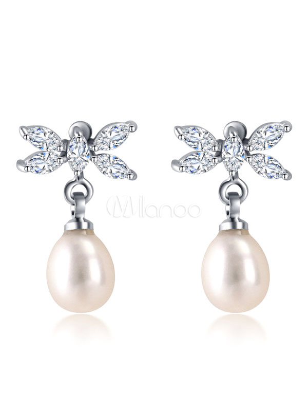 Pearls Drop Earrings Wedding Silver Bridal Pendant Earrings