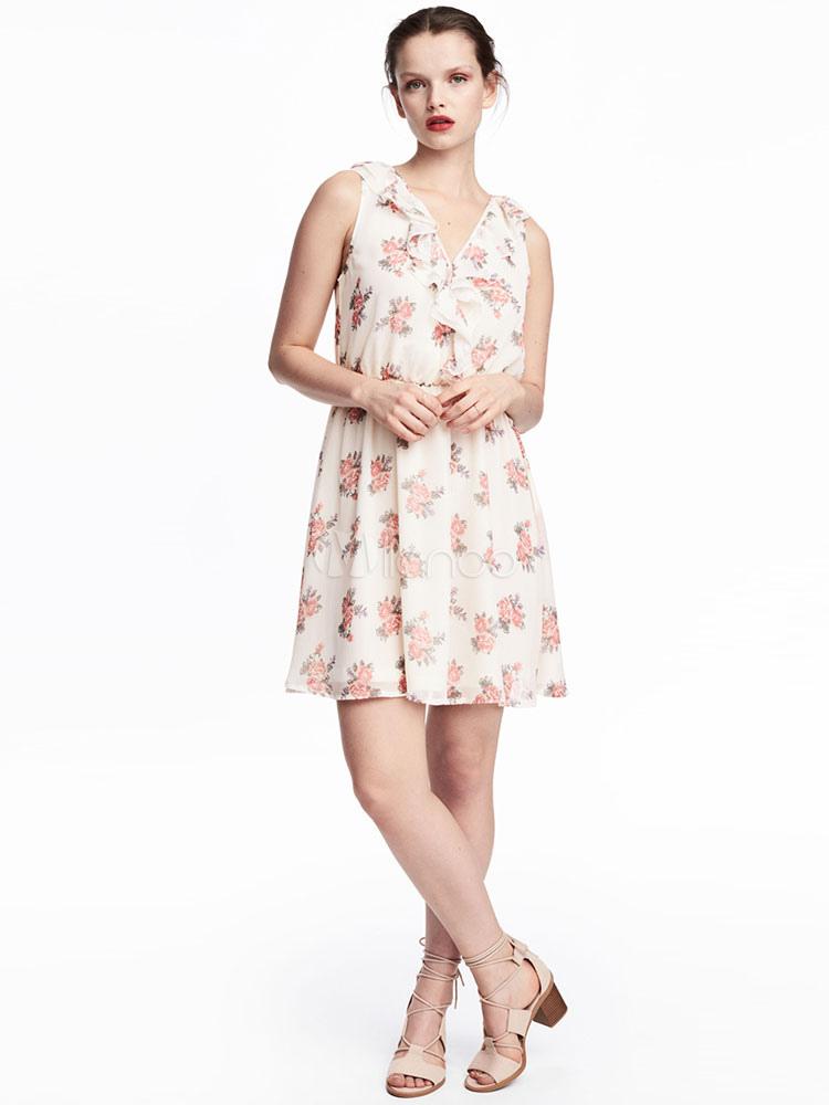 Buy White Skater Dress Floral Printed V Neck Sleeveless Flare Dress For Women for $19.48 in Milanoo store