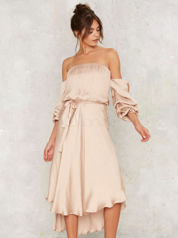 8f6626190b25 Pink Skater Dress Strapless 3 4 Length Sleeve High Low Pleated Draped Flare  Dress- ...