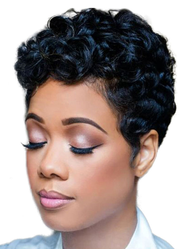 Afro American Wig Black Spiral Curls Tousled Women's Short Synthetic Wigs