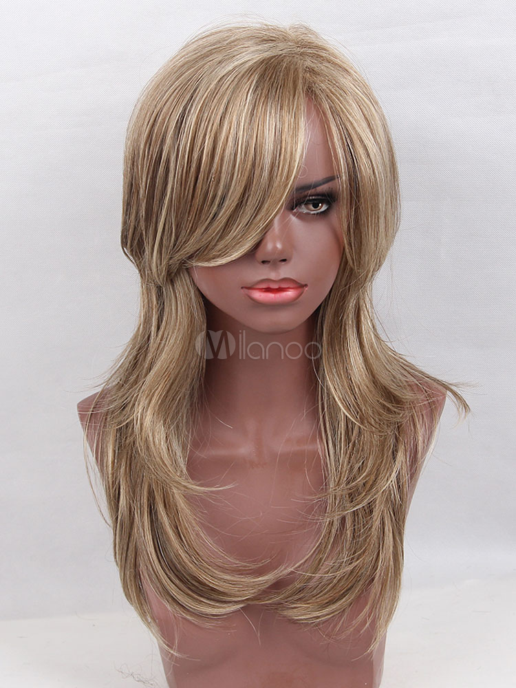 Buy Women Blonde Wigs Side Parting Body Wave Long Spiral Wig With Bang for $22.49 in Milanoo store