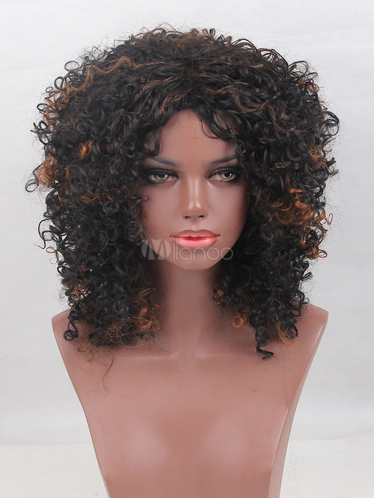 Buy African American Wigs Deep Brown Corkscrew Curls Tousled Women's Synthetic Wigs for $28.79 in Milanoo store