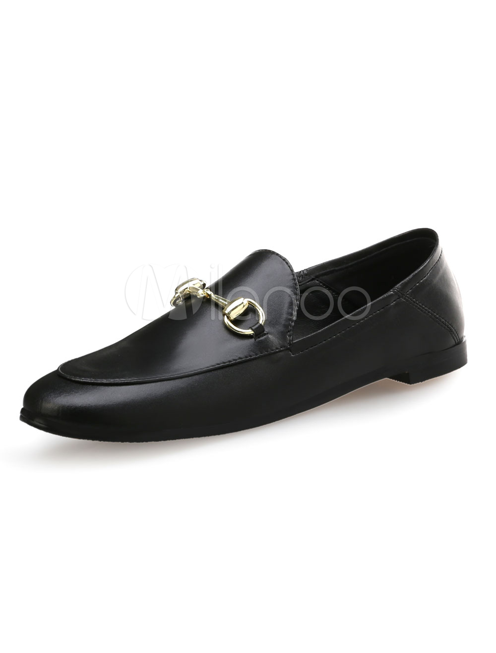 Buy Black Flat Loafers Women's Round Toe Metal Detail Slip On Flat Shoes for $37.99 in Milanoo store