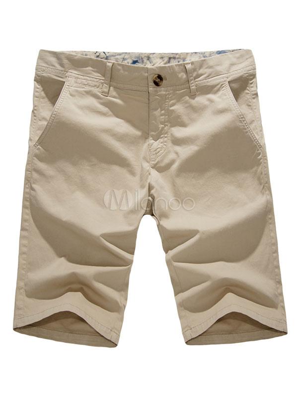 Cotton Capri Shorts Pocket Solid Color Casual Men Shorts