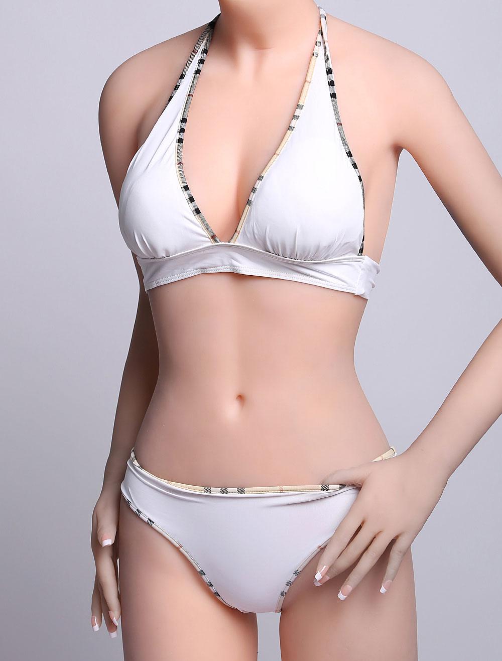 Buy White Sexy Bikini Swimwear Halter Beach Swimsuit For Women for $8.99 in Milanoo store