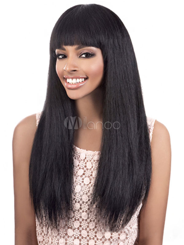 Buy Long Black Wigs Women's Blunt Fringe Layered Straight Synthetic Wigs for $14.39 in Milanoo store