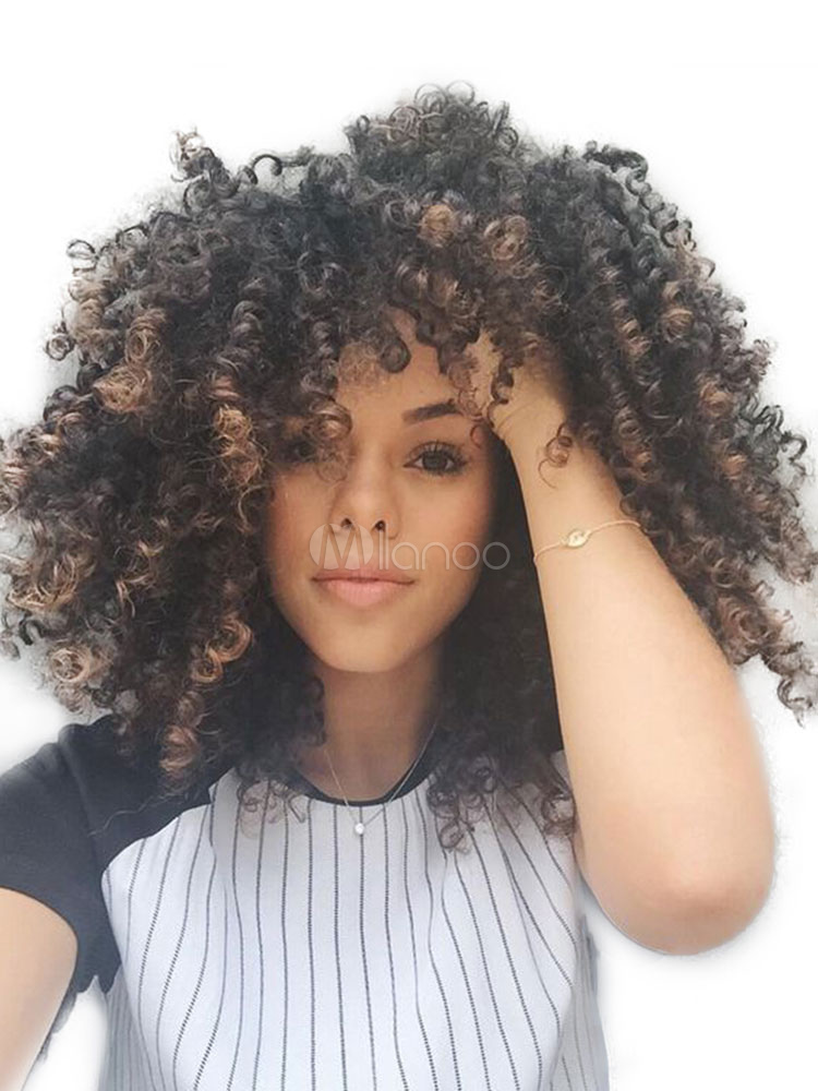 Buy African American Wigs Women's Tousled Spiral Curls Tan Synthetic Wigs for $31.99 in Milanoo store