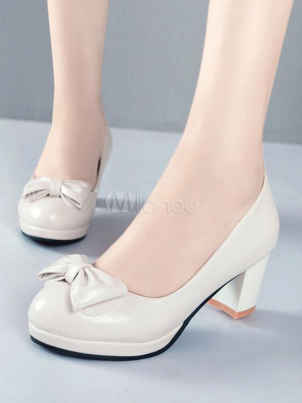 Zapatos de tacón medio de puntera redonda de tacón gordo para aumentar la altura estilo informal para pasar por la noche de PU ekND6Kx