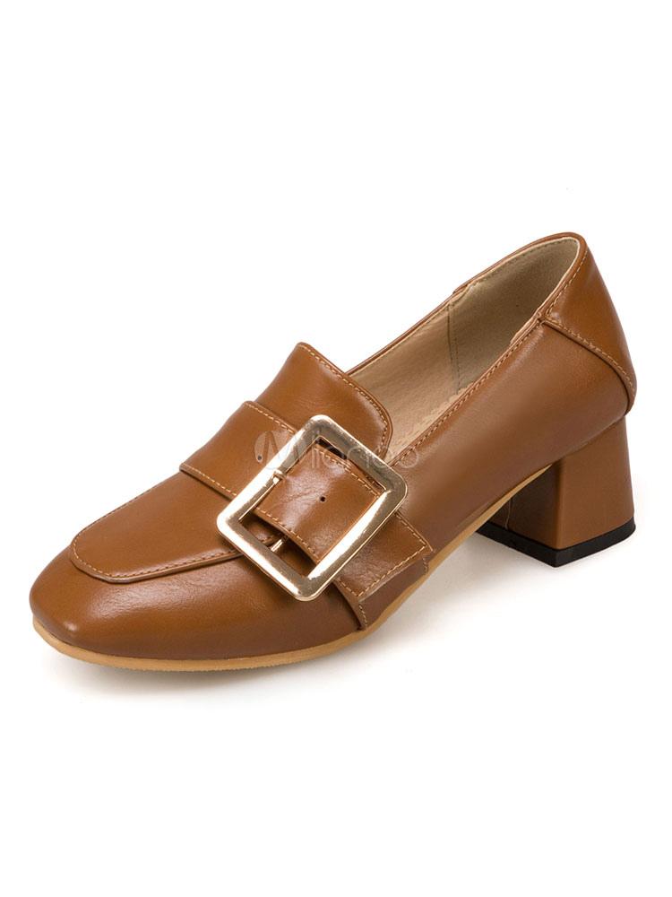 Zapatos Mocasín de tacón gordo slip-on de puntera cuadrada para mujer para pasar por la noche estilo moderno Color liso Ng35Tx