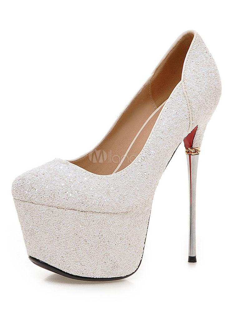Zapatos con plataforma para novias Tela-brillantes con lentejuela de lujo DPxrIt