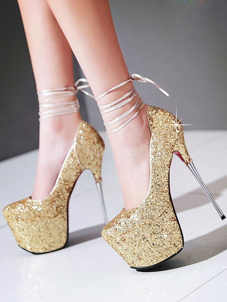 Zapatos con plataforma para novias Tela-brillantes con lentejuela de lujo lHGTjTd