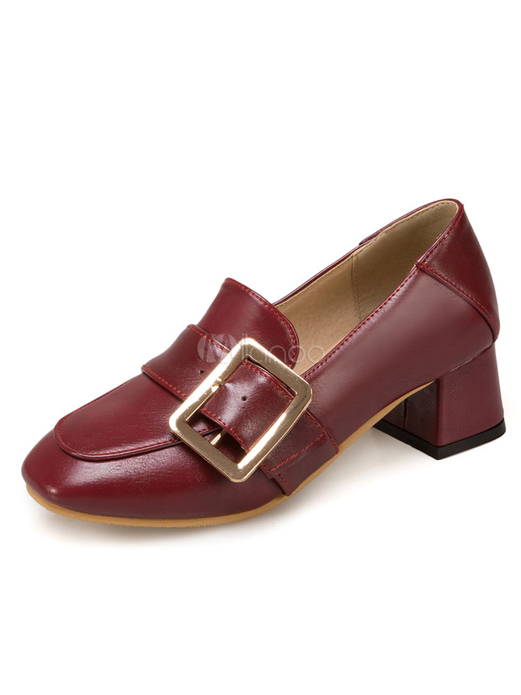 Buy Women's Burgundy Pumps Square Toe Buckled Detail Slip On Pump Shoes for $28.49 in Milanoo store