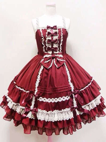 Buy Rococo Lolita Dress JSK Lace Trim Ruffles Pleated Bow Lolita Jumper Skirt  for $66.59 in Milanoo store
