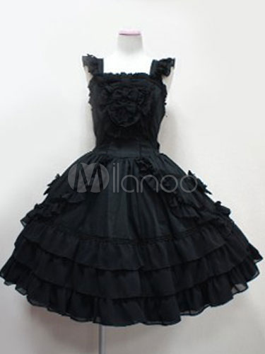 Buy Gothic Lolita Dress JSK Cotton Bows Ruffles Pleated Black Lolita Jumper Skirt for $71.99 in Milanoo store