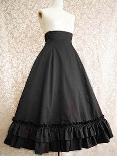 Gothic Lolita Skirt SK Cotton Pleated Ruffles Long Black Lolita Skirt