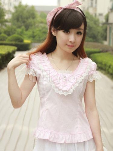 Sweet Lolita Blouse Cotton V Neck Ruffles Color Block Lolita Blouse