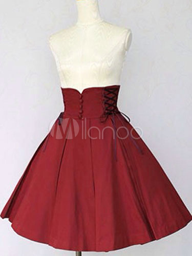 Buy Classic Lolita Skirt SK Cotton Ruffles High Rise Pleated A Line Burgundy Lolita Skirt for $41.39 in Milanoo store