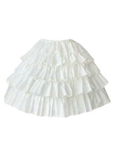 Rococo Lolita Skirt SK Cotton Layered Ruffles Pleated A Line White Lolita Skirt
