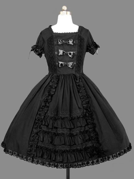 Buy Gothic Lolita Dress OP Bow Tie Pleated Cotton Lolita One Piece Dress for $62.99 in Milanoo store