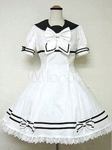 Replica Sweet Lolita Dress OP White Short Sleeve Cotton Lolita One Piece Dress