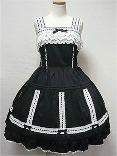 Buy Rococo Lolita Dress JSK Black Sleeveless Cotton Lolita Jumper Skirt for $68.99 in Milanoo store
