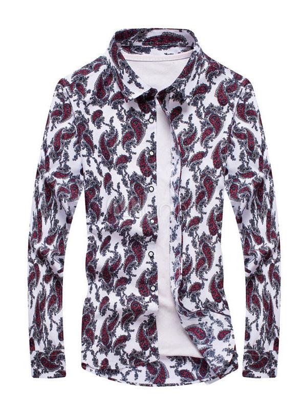 Buy Burgundy Casual Shirt Men's Turndown Collar Long Sleeve Paisley Printed Regular Fit Cotton Top for $13.49 in Milanoo store
