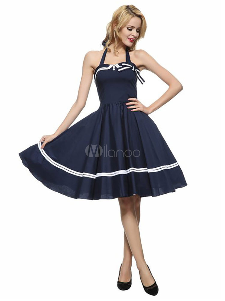 Women's Vintage Dress Deep Blue Halter Sleeveless Bow Pleated Skater Dress