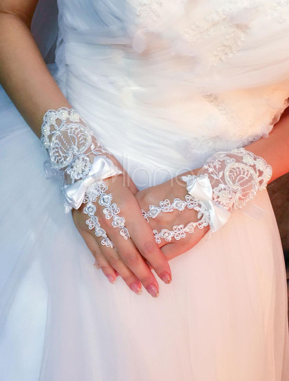 Ivory Wedding Gloves Short Lace Fingerless Rhinestones Bow Bridal Gloves