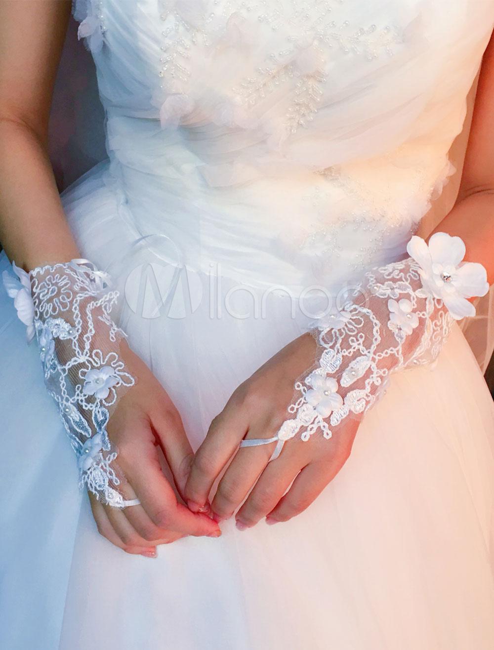 Short Wedding Gloves Ivory Lace Rhinestones Flowers Beaded Bridal Gloves