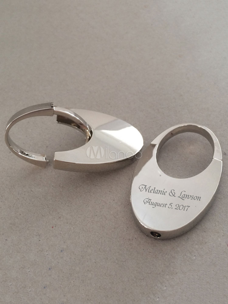 Personalized Key Ring Silver Letters Oval Wedding Favors(4 Pcs A Set)