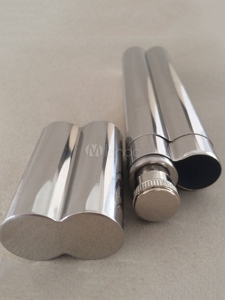 Silver Cigar Tube Personalized Twin Tube Stainless Steel Embossed Practical Party Gift