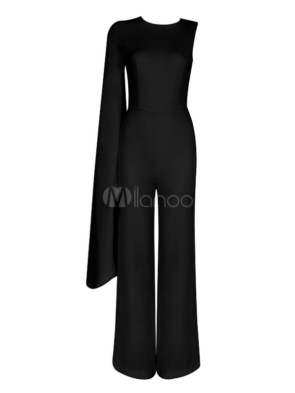 e90d5b1a700 ... Wide Leg Jumpsuits One Bell Sleeve Deep Apricot Women s Dressy Jumpsuits -No.4