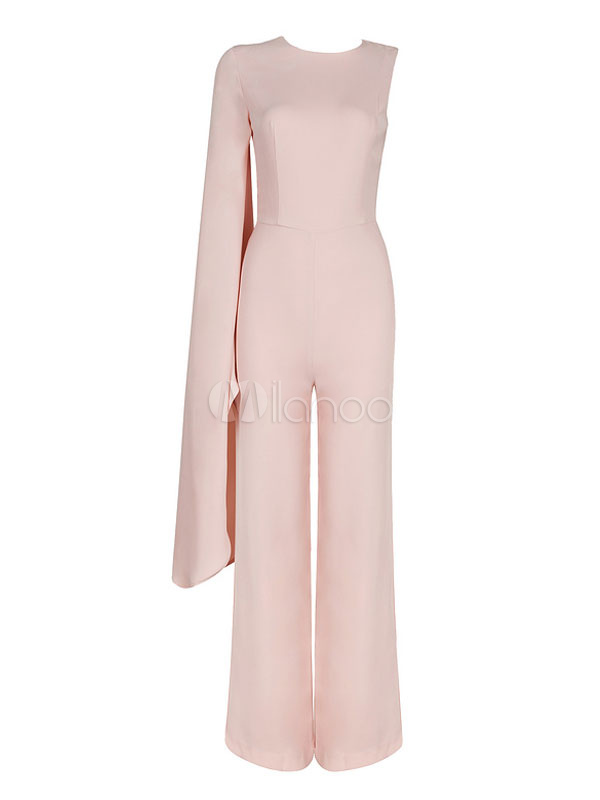 106bc7cc80c ... Wide Leg Jumpsuits One Bell Sleeve Deep Apricot Women s Dressy Jumpsuits -No. ...