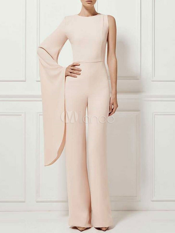 6b1b173f242 Wide Leg Jumpsuits One Bell Sleeve Deep Apricot Women s Dressy Jumpsuits-No.  ...