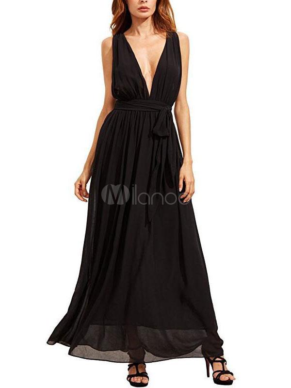 brand new 60cdf 33d13 Vestito lungo dalla pieghetta senza maniche in chiffon con chiusura in  chiffon nero