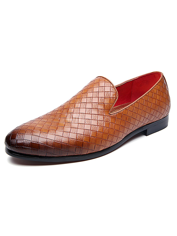 Buy Men Dress Shoes Brown Round Toe Plaid Slip On Loafers Casual Business Shoes for $40.49 in Milanoo store