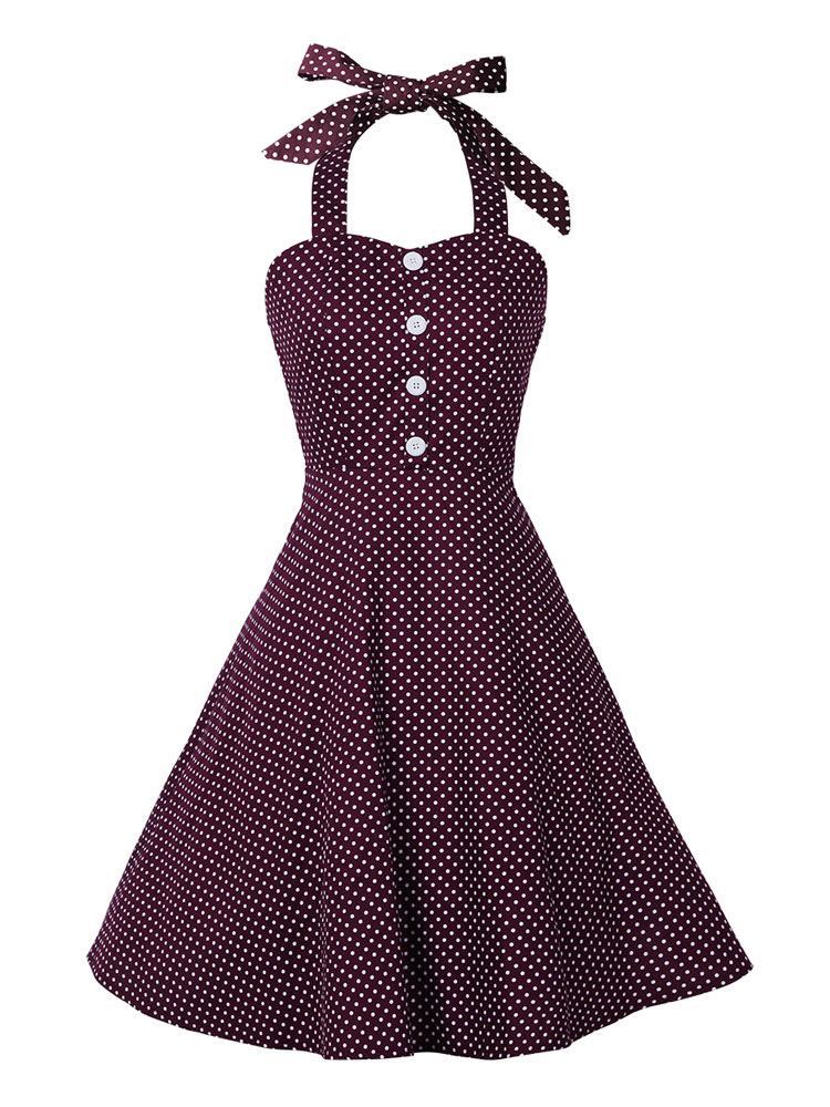 Burgundy Vintage Dresses Polka Dot Printed Halter Women's Fit And Flare Retro Dress
