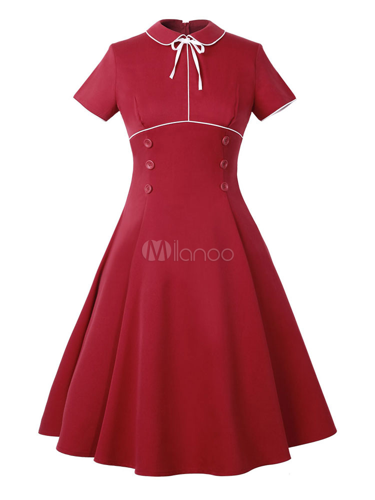 Buy Red Vintage Dress Turndown Collar Short Sleeve Slim Fit Pleated Skater Dress for $20.79 in Milanoo store